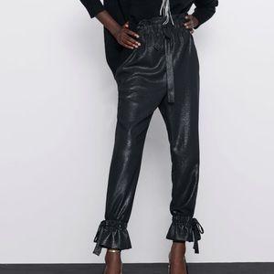 Zara Shimmery Paperbag Pants